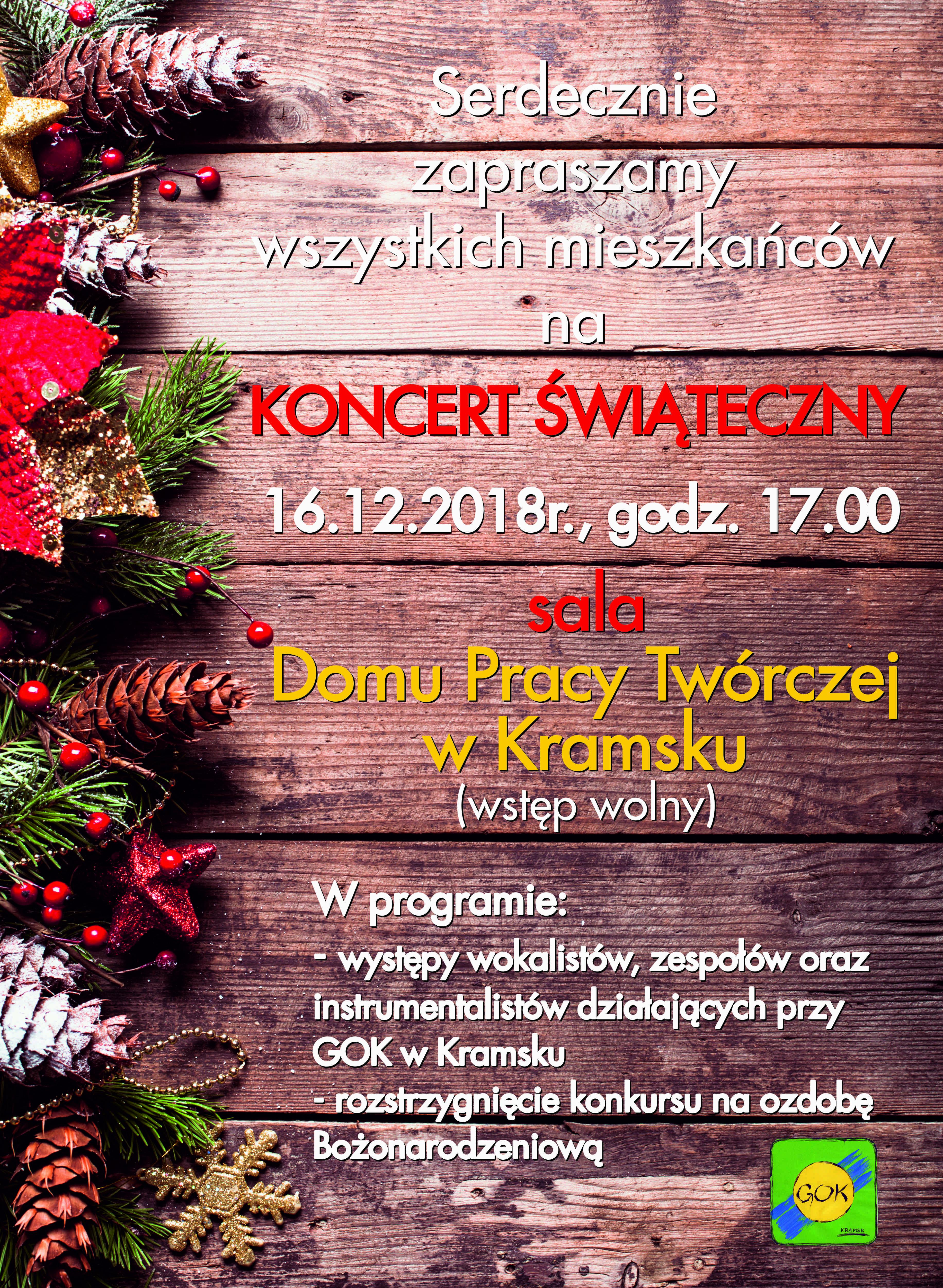 Plakat A3 Koncert Swiateczny Gok Kramsk