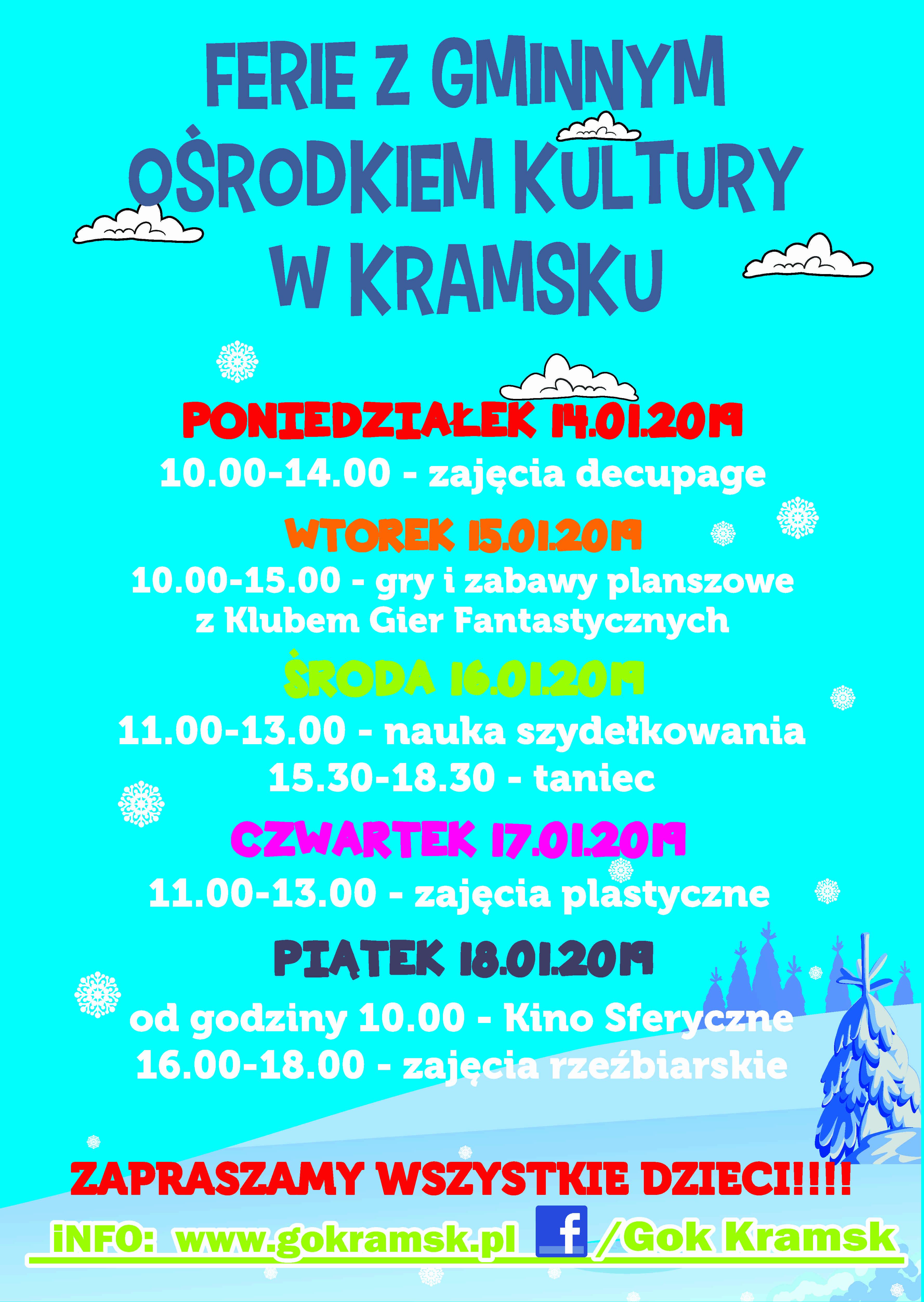 Plakat Ferie GOK KRAMSK 2019